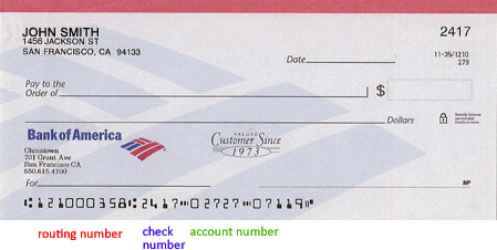 bank routing number on bank of america checks