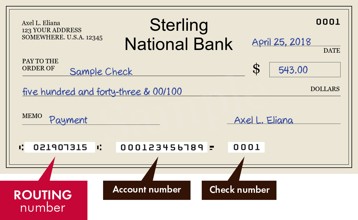 Sterling National Bank Routing Number