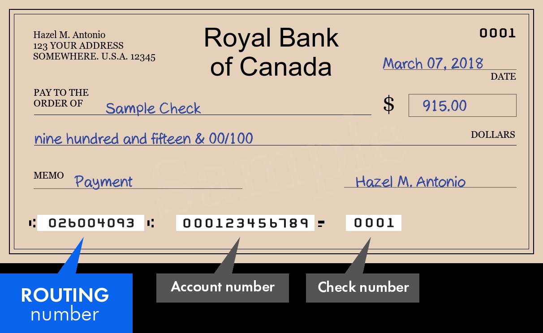 Bank Routing Number Royal Bank of Canada