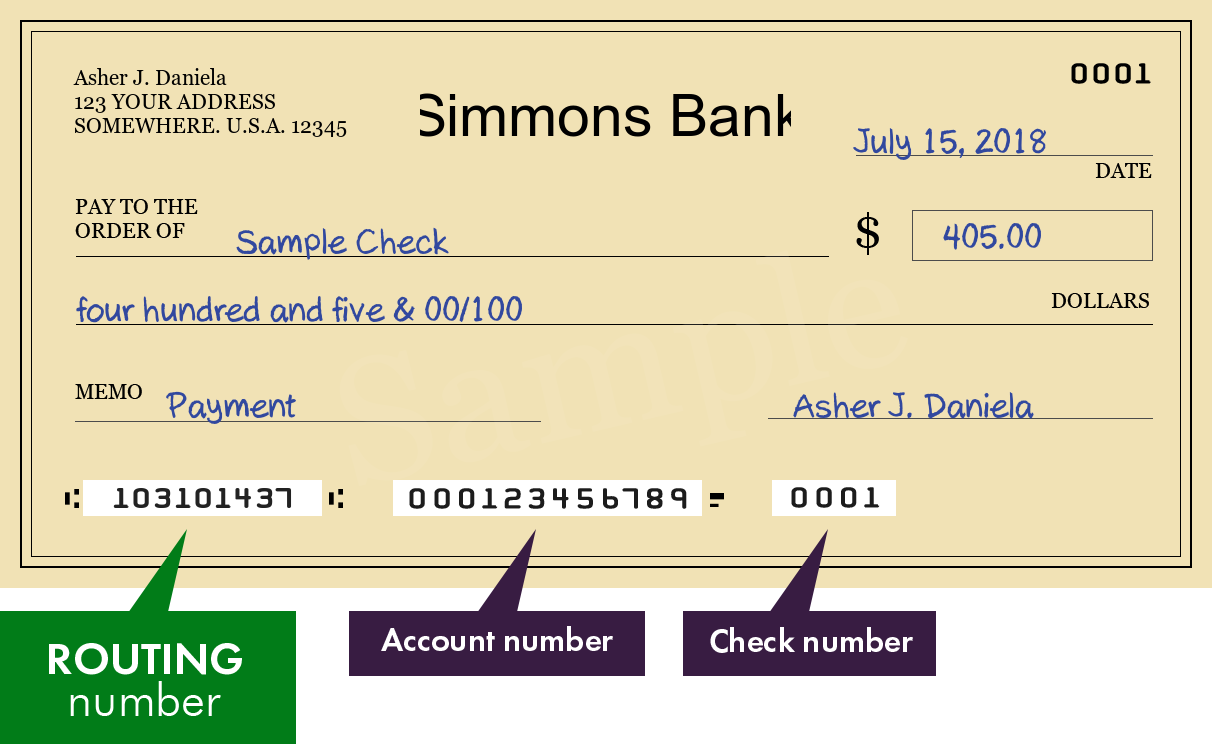 where to find a simmons bank routing number | bank routing number
