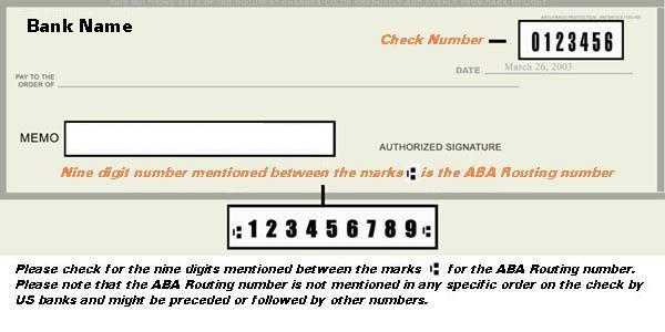 Check ABA Routing Number