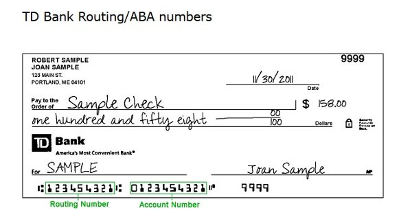 TD Bank Routing Number Philadelphia